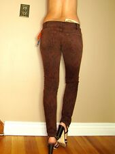 Current/Elliott $198 Ankle Skinny Cinnamon Brown Python Animal Print Jeans 27