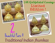 Traditional 24k Gold Plated South Indian Earrings Jhumka Jewelry Jewelery Set 2P