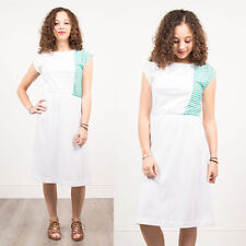 WOMENS VINTAGE 80'S WHITE GREEN STRIPED MIDI DRESS CASUAL RETRO SUMMER JERSEY 8