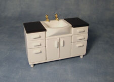 Dolls House Bathroom: White Sink unit with 6 drawers & 2 doors   12th scale
