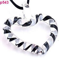 black white heart Murano Lampwork Glass Pendant Necklace p543