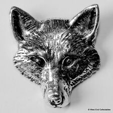 Fox Head Front Pewter Brooch Pin - British Artisan Signed Badge - Hunting Dog