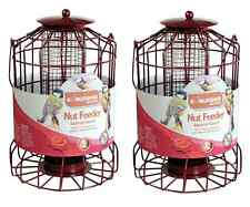 2 X 36CM SQUIRREL GUARD LANTERN STYLE BIRD NUT FEEDER WITH METAL WIRE CAGE BF007