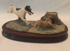 Vintage 1981 Border Fine Arts Dog Chasing Rabbit Signed A. Wall