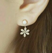 South Korean Silver Plated Small Pearl with Diamond Five Leaves Flowers Earring