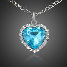 Titanic Heart of the Ocean Necklace Woman Movie Replica Blue Zircon USA SELLER!