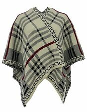 WOMENS NEW REVERSIBLE KNITTED BLACK BEIGE WRAP OVER SHAWL CAPE CARDIGAN