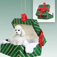 POODLE White Sport Cut Dog Green Gift Box Holiday Christmas ORNAMENT