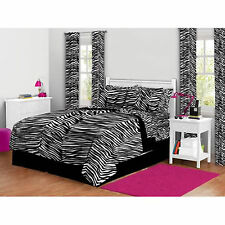 Bedding Set Full Zebra Print Comforter & Sheets Teens Bed In a Bag Reversible