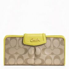 NWT Coach Ashley Signature Sateen Slim Envelope Wallet Khaki Bifold NEW F48096