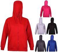 Womens Long Sleeve Ladies Hoody Zip Pouch Sweatshirt Hooded Jacket Top Plus Size