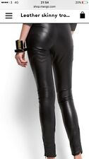 Mango❤️REAL LEATHER Leggings M RRP£180 Worn A Few Times Only❤️ Black Slim