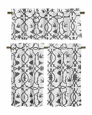 Dawn Birds Botanical Gray White Sheer Fabric Kitchen Window Set, 3pc.