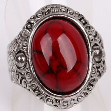 Women Mens Tibetan Silver US Size 9 Red Iron Line Turquoise Ring Jewelry D867