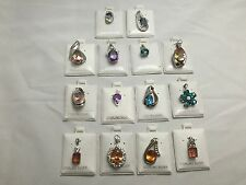 925. Sterling Silver Rhodium Plated Gemstone Pendants Wholesale Lot (14)
