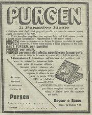 W3353 PURGEN il purgativo ideale - Pubblicità 1910 - Advertising