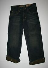 New Old Navy Boys Denim Blue Jeans Size 5 Year NWT Straight Fit Skull Cuffs