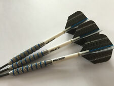 25g Blue Ring Supergrip Tungsten Darts Set, Unicorn Stems Blue Supergrip Flights