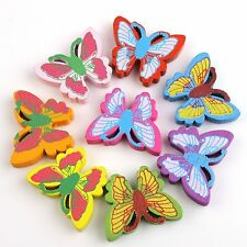 DIY 70Pcs Mixed Color Butterfly Charm Wooden Spacer Loose Beads For Jewelry