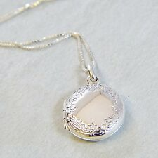 925 Sterling Silver Necklace Big Round Locket And Floral Pattern Handcraft w Box