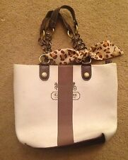 White Canvas Coach Tote With Handles and Leopard Print Detail