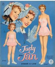 VINTAGE UNCUT 1956 JUDY & JAN  PAPER DOLLS ~HD LASER REPRODUCTION~LO PR~HI QUA