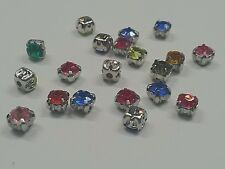 20 Acrylic Rhinestone Montee Beads, with Brass Findings, Five-Holes, Mixed Color