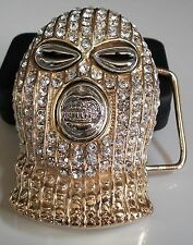 Gold Finish HIP HOP Iced Out Goon Ski Mask Belt Buckle