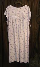 CROFT & BARROW LONG SOFT COTTON BLEND STRETCH KNIT SMOCKED GOWN NIGHTGOWN~3X~NEW