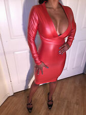 Red Coral Faux Leather Party Dress That is Knee length With Deep V plunge L