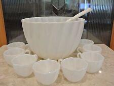 VINTAGE NEWLAND SCHNEELOCH & PIER MILK GLASS PUNCH BOWL W/ 8 CUPS & LADLE SWIRL