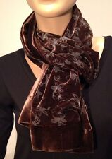 GIORGIO ARMANI Brown Velvet Flower Detail Winter Scarf