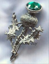 SOLID PEWTER KILT PIN HIGHLAND THISTLE FAUX EMERALD GREEN STONE by MIRACLE KILTS