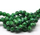 100 x 8mm Green Mottled Round Glass Marble Effect Beads Beading W134