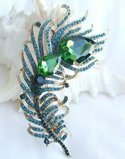 Fashion Turquoise Austrian Crystal Peacock Feather Animal Brooch Pin EE05038C4
