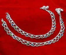 Multicolor CZ Silverplated Barefoot Anklet Indian Ankle Chain Bracelet Jewelry