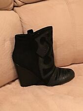 Steven by Steve Madden Miitch Suede Wedge Bootie with Reptile Embossed black 8m