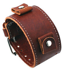 Nemesis BL-BB Wide Brown Leather Cuff Wrist Watch Band