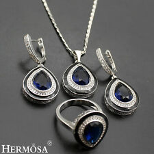 Hermosa 925 Sterling Silver Blue Sapphire SETS Necklace Earrings Rings Sz.8