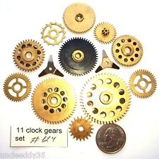 Lot of 11 vintage clock brass small and large gears wheels Steampunk parts #124