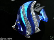 SIGNED SWAROVSKI CRYSTAL ANGLE FISH PIN~BROOCH  NEW IN BOX RETIRED  RARE