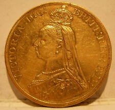 Great Britain 1887 Gold 5 Pounds Cleaned Victoria