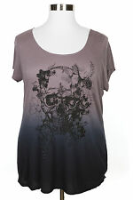ROCK & REPUBLIC OMBRE EMBELLISHED GRAPHIC SKULL SHORT SLEEVE KNIT TOP PLUS Sz 1X