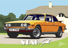 Triumph Stag Classic British Car Sportscar Art Deco Style Birthday Card