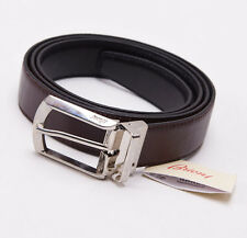 NWT $450 BRIONI Reversible Black/Brown Supple Calf Leather Dress Belt 46 Waist
