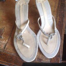 Zara Flip-Flops Sandals Size 41 Cream Kitchen Heel Diamonte Detail Beige