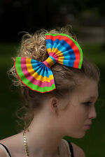"""8"""" Large Rainbow brite stripe hair bow clip. Pin up. Carnival. Festival. 80's"""