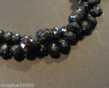 LOT 5 PERLE ONYX NOIR NATURELLE FACETTE INDE 7 mm NATURAL BLACK ONYX BEADS INDIA