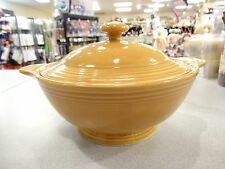 HOMER LAUGHLIN FIESTA COVENTRY CASUALSTONE ANTIQUE GOLD COVERED CASSEROLE DISH