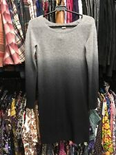 DKNY 100% CASHMERE GREY / BLACK DESIGN JUMPER DRESS- SIZE SMALL